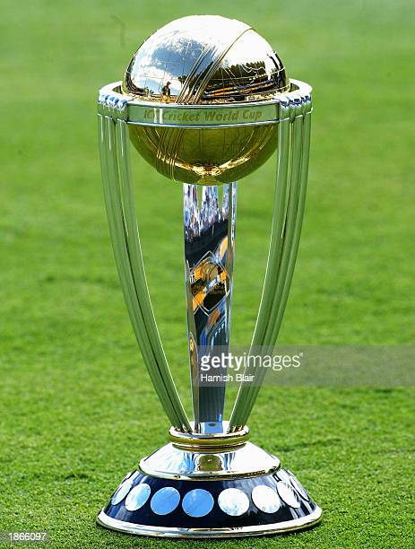 The World Cup Trophy On Display Before Final One Day International Match Between