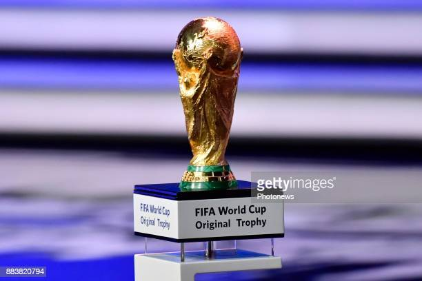 the World Cup trophy pictured during the FIFA World Cup Russia 2018 Final Draw in the State Kremlin Palace on December 01 2017 in Moscow Russia...