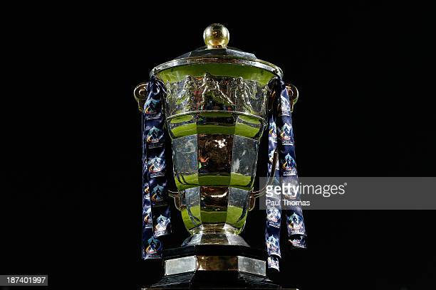 The World Cup trophy sits on display before the Rugby League World Cup Group B match between New Zealand and Papua New Guinea at Headingley Stadium...