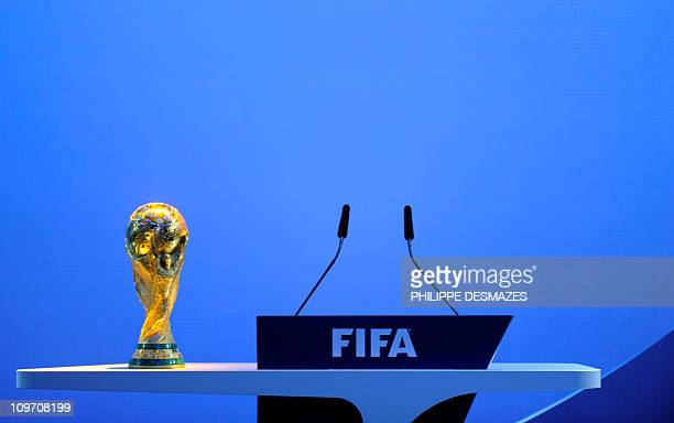 The World Cup trophy sits on the rostrum prior to the official announcement of the 2018/2022 World Cup host countries on December 2 2010 at the FIFA...