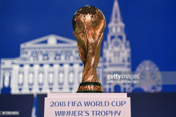 TOPSHOT The World Cup winner's trophy is seen during the 68th FIFA Congress at the Expocentre in Moscow on June 13 2018