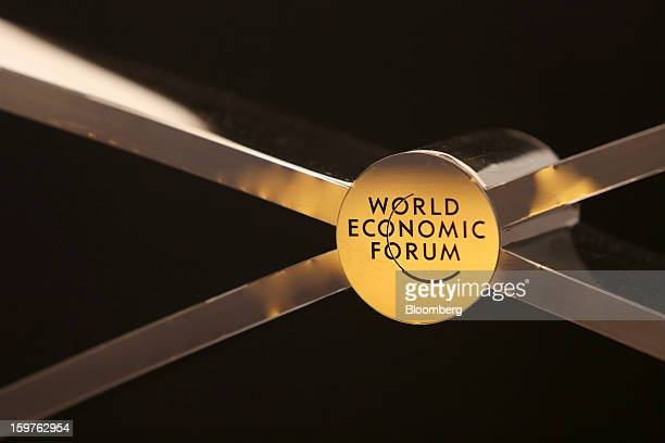 The World Economic Forum's logo is displayed inside the Congress Centre ahead of the World Economic Forum meeting in Davos Switzerland on Sunday Jan...