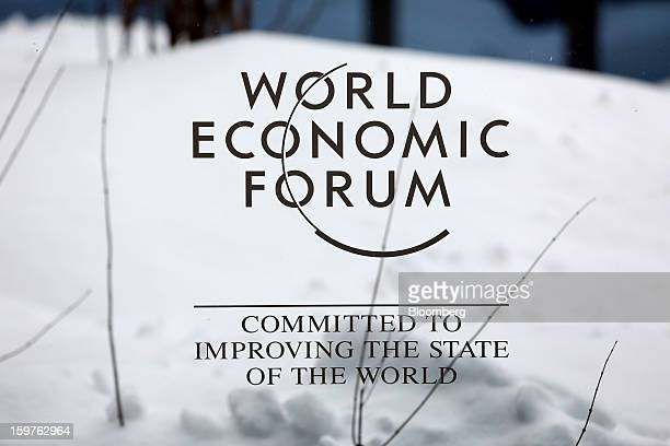 The World Economic Forum's logo is displayed on window inside the Congress Centre ahead of the World Economic Forum meeting in Davos Switzerland on...