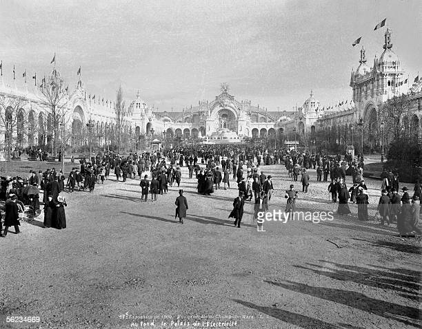 The World fair of 1900 Paris Generale view of the ChampsdeMars with at the back the Electricity palace