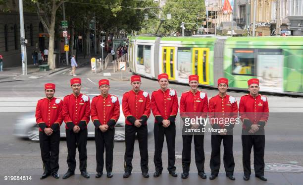 The world famous bell boys from the luxury cruise line Cunard sightseeing around the city trams on February 18 2018 in Melbourne Australia Cunard...