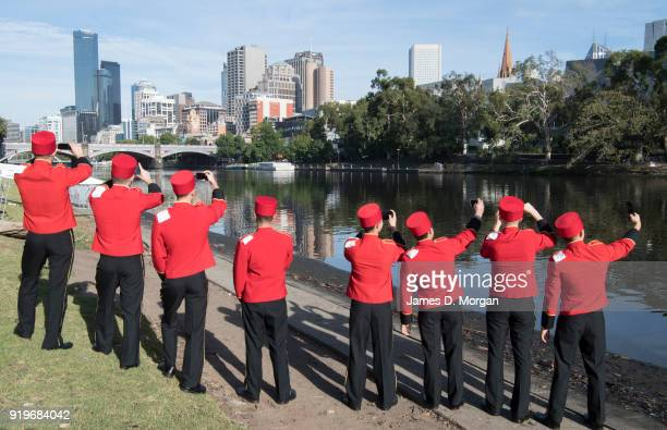 The world famous bell boys from the luxury cruise line Cunard sightseeing beside the Yarra River on February 18 2018 in Melbourne Australia Cunard...