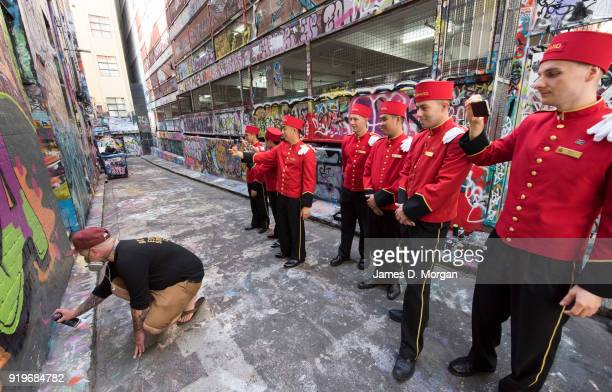 The world famous bell boys from the luxury cruise line Cunard sightseeing in graffiti lanways in the CBD on February 18 2018 in Melbourne Australia...