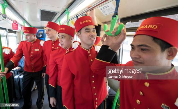 The world famous bell boys from the luxury cruise line Cunard sightseeing on board a city tram in the CBD on February 18 2018 in Melbourne Australia...