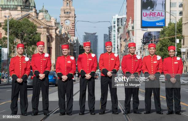 The world famous bell boys from the luxury cruise line Cunard pose for a group photo in the city on February 18 2018 in Melbourne Australia Cunard...