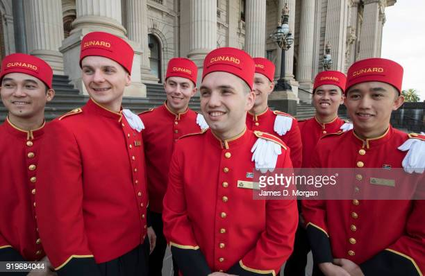 The world famous bell boys from the luxury cruise line Cunard touring State Parliament in the CBD on February 18 2018 in Melbourne Australia Cunard...