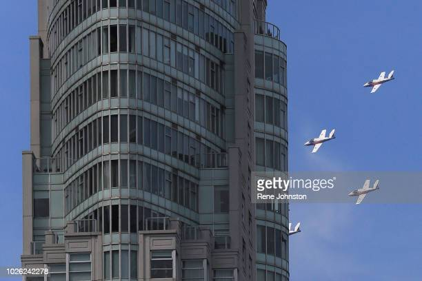 TORONTO ON The world famous Canadian Forces Snowbirds fly past downtown building on downtown Canadian International Airshow on Sunday Many residents...