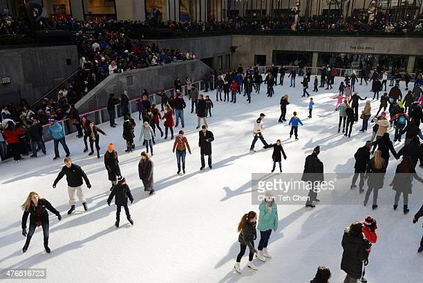 The world famous Ice skating rink at Rockefeller Center in New York City.