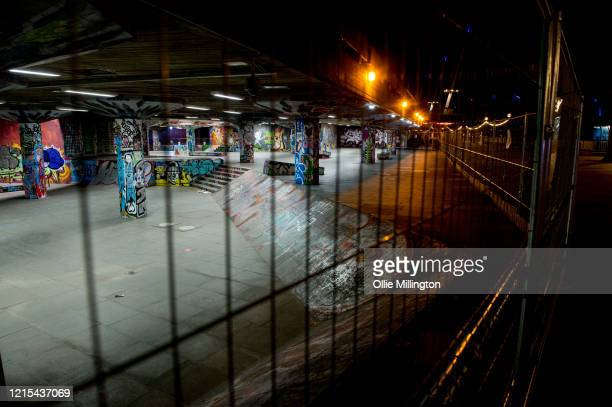 The world famous London Southbank Skateboard underpass area seen locked up due to the Covid-19 lockdown on March 28, 2020 in London, England. British...
