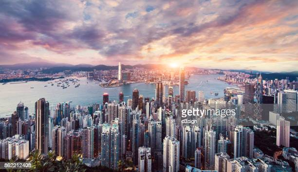 The world famous view of Hong Kong city skyline over Kowloon Peninsular, Hong Kong Island and Victoria Harbour