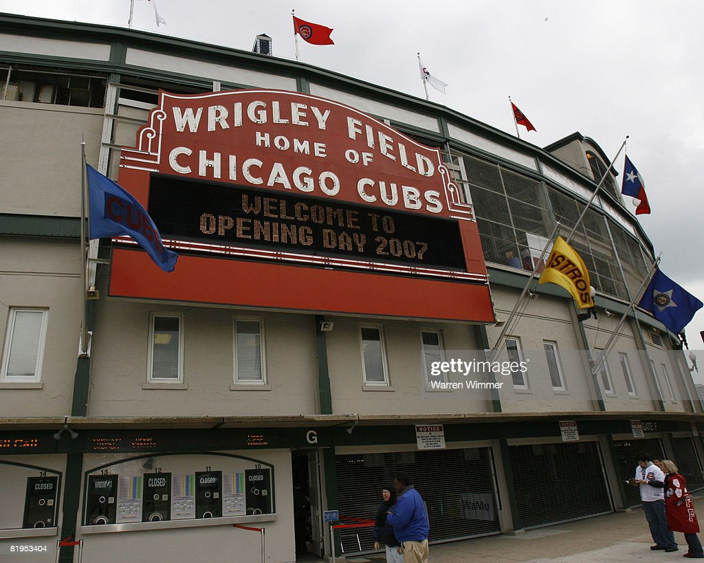 The world famous Wrigley Field sign, proclaims the start of a new season at the season Home Opener for the Chicago Cubs at Wrigley Field, Chicago, Il on April 9, 2007. The Houston Astros defeated the Chicago Cubs by a score of 5 to 3.
