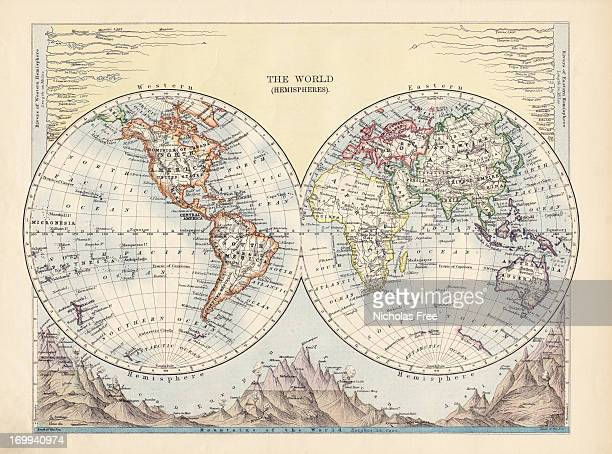 the world hemispheres antique map - world map stock photos and pictures