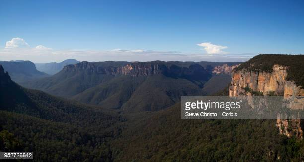 The World Heritage view across the Grose Valley at the popular Govetts Leap lookout at Blackheath on April 25 2018 in Sydney Australia