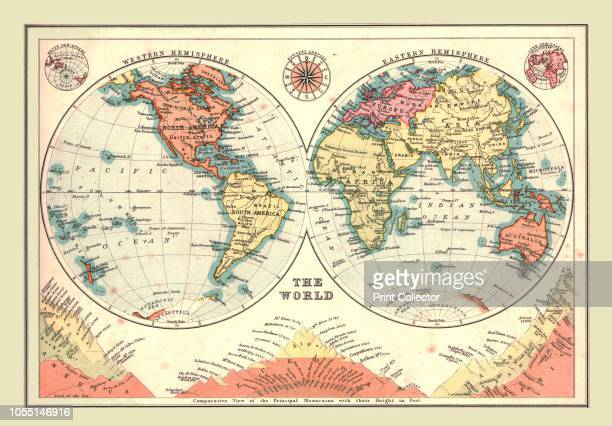 The World in Hemispheres 1902 Eastern and Western Hemispheres and below comparative view of the principal mountains with heights in feet From The...
