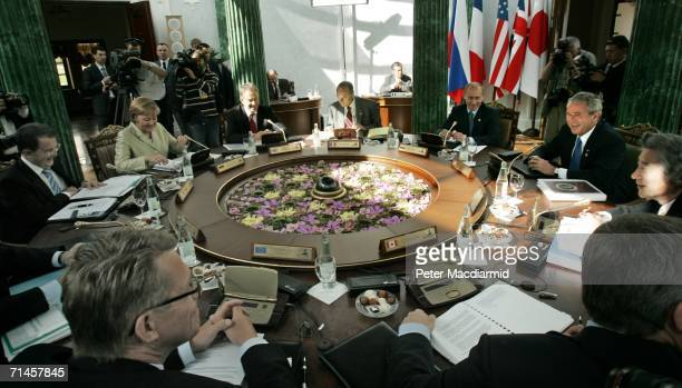 The World leaders attend a meeting during the G8 summit on July 16 2006 in St Petersburg Russia The crisis in the Middle East has come to dominate...