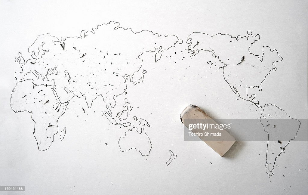 The world map with no borders : Stock Photo