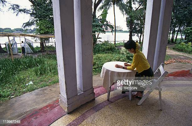 The world of General Than Shwe the Burmese dictator In Yangon Myanmar In 1996Archive photo of nobel price winner Aung San Suu Kyi while in house...