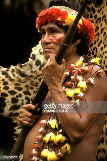 The world of Jivaro Indians in Ecuador in 1992 El Chacal and his hunting trophies Rio Pindoyacu Achuar ethnic group Ecuadorian Amazon