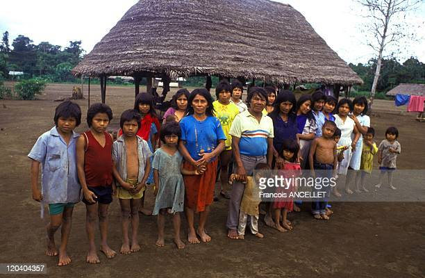 The world of Jivaro Indians in Ecuador in 1992 Polygamous family in Charapacocha Achuar ethnic group Ecuadorian Amazon