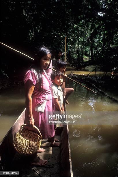 The world of Jivaro Indians in Ecuador in 1992 Return from fishing at the Rio Curaray Achuar ethnic group Ecuadorian Amazon