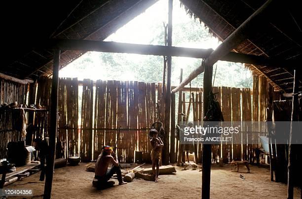 The world of Jivaro Indians in Ecuador in 1992 Young Shuar warrior in his home Tuutinentsa Ecuadorian Amazon