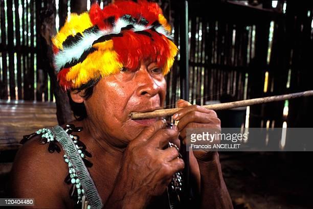 The world of Jivaro Indians in Ecuador in 1993 Tuutinensa Shaman playing the Jew's harp Shuar ethnic group Ecuadorian Amazon