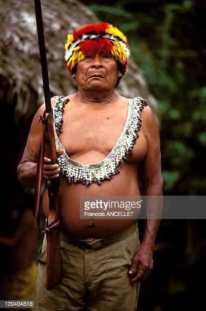 The world of Jivaro Indians in Ecuador in 1993 Vincente an important Shuar chef from Tuutinentsa Ecuadorian Amazon