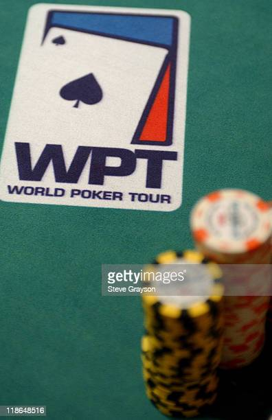 The World Poker Tour's logo and Belaggio Chips on the table at Doyle Brunson North American Poker Championship at the Bellagio Hotel in Las Vegas...