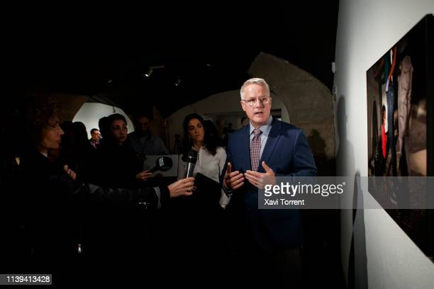 The World Press Photo 2019 winner John Moore takes part in the press conference during the presentation of World Press Photo 2019 at CCCB on April 26...