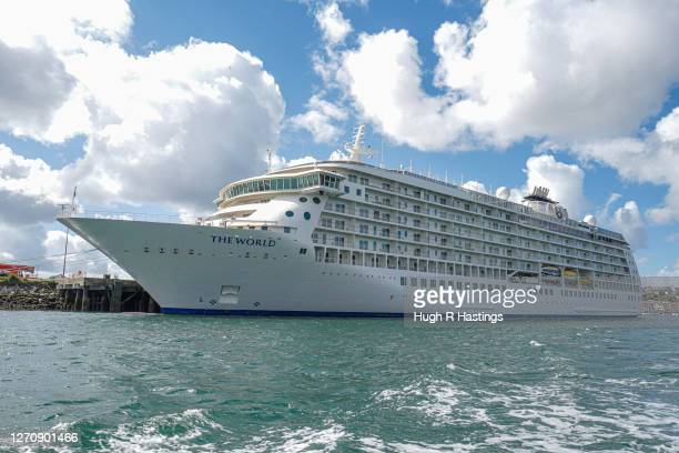 'The World' residential cruise liner remains laid up in Falmouth for five months whilst unable to sail due to the coronavirus pandemic on September...