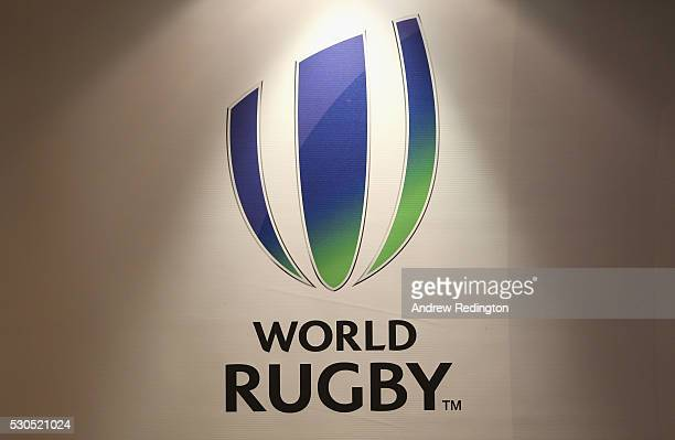 The World Rugby logo is pictured during a media conference to introduce the new World Rugby Chairman and Vice-Chairman on May 11, 2016 in Dublin,...