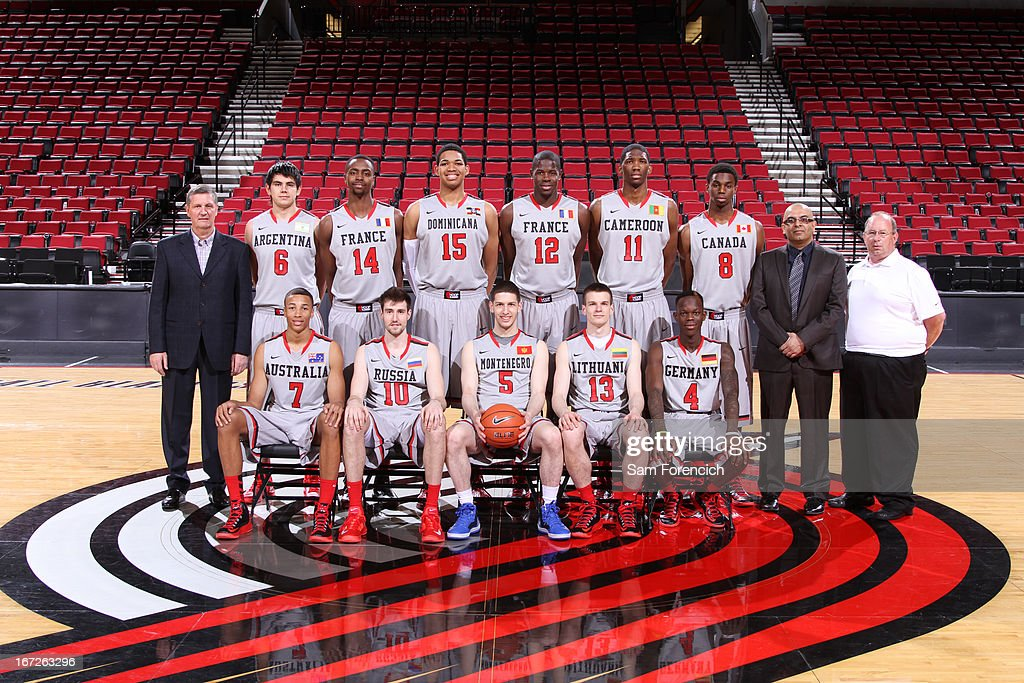 The World Select Team takes a photo before the 2013 Nike Hoop Summit game against the USA Junior Select Team on April 20, 2013 at the Rose Garden Arena in Portland, Oregon.