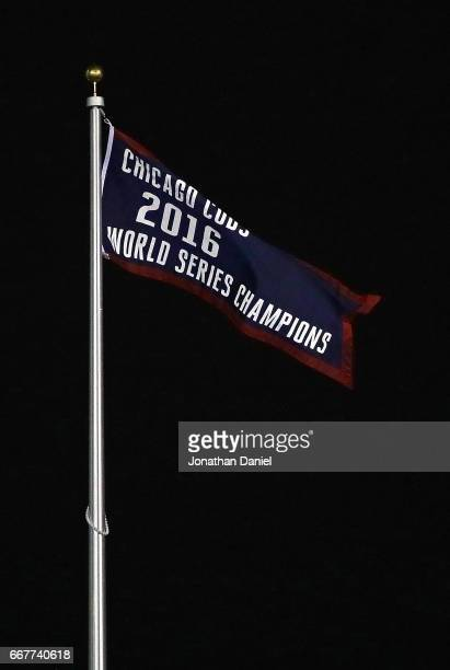 The World Series Championship banner is seen before the home opening game between the Chicago Cubs and the Los Angeles Dodgers at Wrigley Field on...