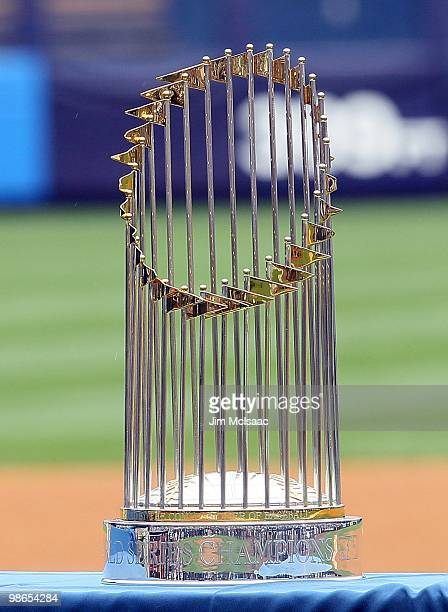 The World Series trophy is seen prior to the New York Yankees playing the Los Angeles Angels of Anaheim during the Yankees home opener at Yankee...