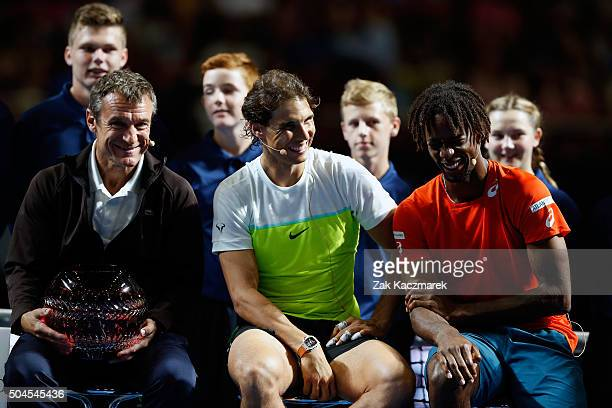 The World Team Mats Wilander Rafael Nadal and Gael Monfils address the crowd following the FAST4 Tennis exhibition matchs at Allphones Arena on...