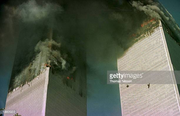 The World Trade Center is engulfed in flames just before the south tower collapsed September 11 2001 in New York City