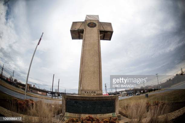 The World War I memorial cross in Bladensburg Maryland near the nation's capital Washington is seen on February 08 2019 The US government asked the...