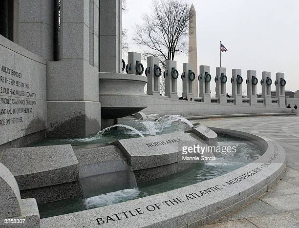 The World War II Memorial is seen during a press viewing on the National Mall April 8 2004 in Washington DC The monument will open next week