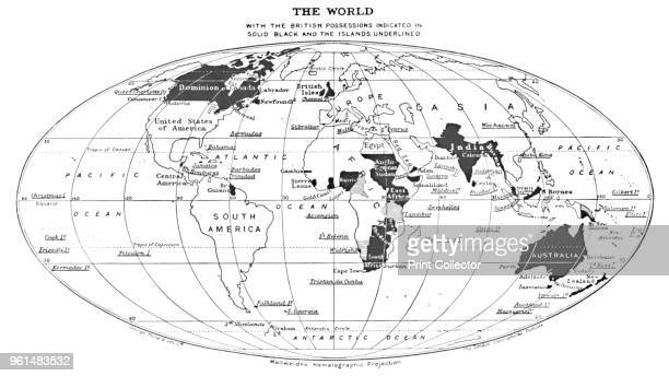 The World with the British Possessions Indicated in Solid Black and the Islands Underlined', 1924. From The British Empire in Pictures, by H. Clive...