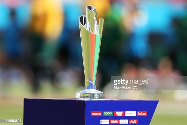 The WorldCup trophy is seen during the ICC Women's T20 Cricket World Cup match between South Africa and Pakistan at Sydney Showground Stadium on...