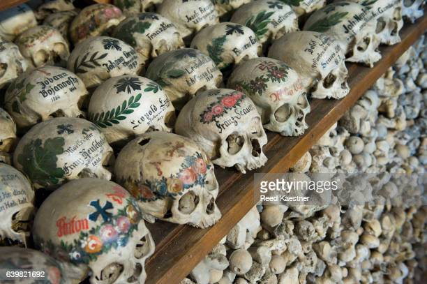 The world-famous skulls of  charnel house in St. Michael's Chapel, Hallstatt, Austria