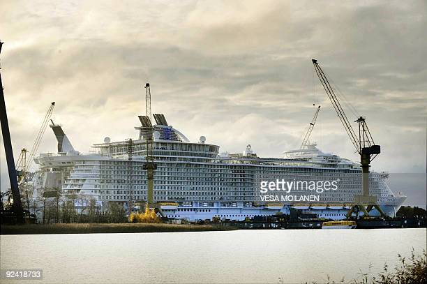 The world's biggest and most expensive cruise ship Oasis of the Seas is docked at the STX Finnish shipyard in Turku on October 28 2009 The ship was...