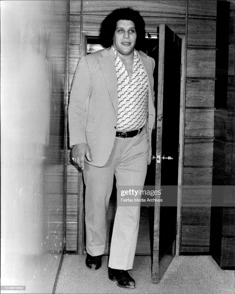 "The worlds biggest athlete ""Andre The Giant"" 7 foot 5 inches tall and weighting 36 stone arrived in Sydney for the wrestling season today. : News Photo"