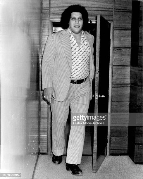 The worlds biggest athlete 'Andre The Giant' 7 foot 5 inches tall and weighting 36 stone arrived in Sydney for the wrestling season today December 03...