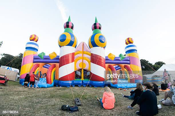 The worlds biggest bouncy castle on Day 2 at Camp Bestival at Lulworth Castle on July 30 2016 in Wareham England