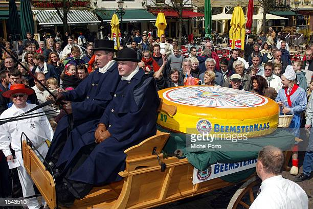 The world's biggest cheese arrives on a traditional Dutch horsedrawn carriage April 27 2002 to enter the Guinness Book of Records with 567 kilograms...